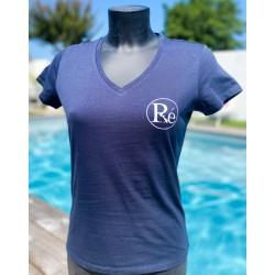 Tee shirt col V femme bleu...