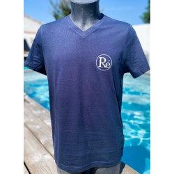 Tee-shirt col V homme bleu...